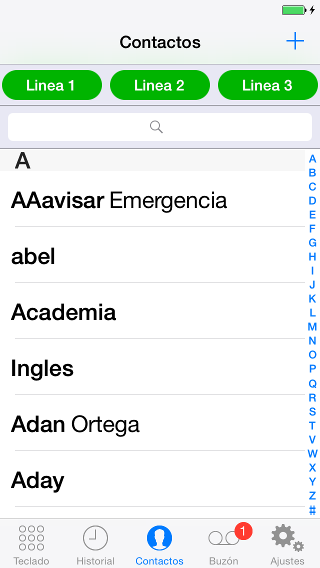 contactos del voip iphone