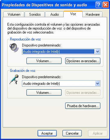 control del sonido para softphone para windows