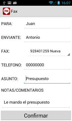 mandar fax android
